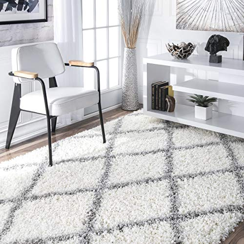 nuLOOM Cozy Soft and Plush Diamond Trellis Shag Area Rug, White, 4' x 6'