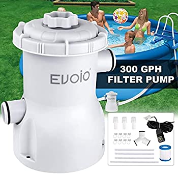 Evoio Pool Filter Pump Above Ground 300 Gallons Swimming Pool Filter Cartridge Pump Electric Pool Water Pump Filter for Pools Sand Cleaning Tool Set with 1 Pool Filter Cartridge