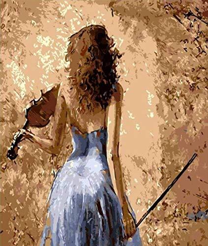 Schilderen op getallen DIY digitale olieverfschilderij viool meisjes afbeelding tekening op canvas handwerk 40 x 50 cm