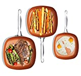 Gotham Steel Nonstick Copper Square Shallow Pan 3 Piece Cookware Set – As Seen on TV by Chef Daniel Green, Large, Brown