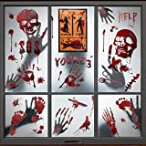 PERFETSELL 8 Sheets Halloween Bloody Handprint Stickers Scary Bloodstains Window Decals PVC Floor Sticker Clings Horror Wall Footprint Sticker Halloween Decoration Indoor for Vampire Zombie Party Door