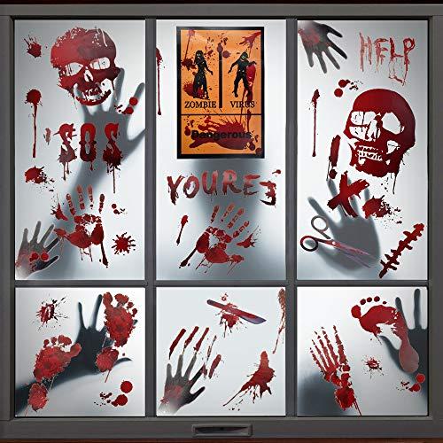 PERFETSELL 8 Blätter Halloween Aufkleber Fenster Sticker Deko Blutige Fensteraufkleber Selbstklebend Gruselige Handabdrücken Fußabdrücken Horror für Fenster Spiegel Badewanne Karneval Party