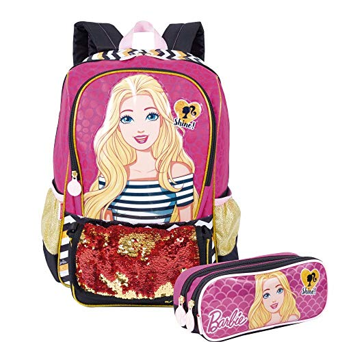 Kit Mochila Barbie Infantil C/Estojo Duplo e Bolsinha Sestini