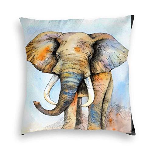 XCNGG Funda de Almohada Funda de cojín de Almohada para el hogar Ropa de Cama Water Color Oil Painting of Elephant Throw Pillow Covers 18x18decorative Pillowcase with Invisible Zipper
