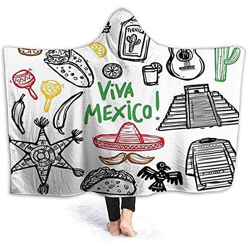 BeiBao-shop Mit Kapuze Decke, Mexikaner, lateinisches Objekt der Skizze mit Burritos-Gitarren-Tequila-Flasche und Pinata-Quetzal CoatiMulticolor