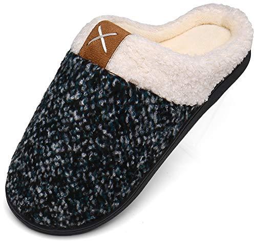 Mishansha Memory Foam Hausschuhe Herren Winter Plüsch Pantoffeln Männer Wärme Weiche Home rutschfeste Slippers mit Fell Grün Gr.44/45 EU (300mm)