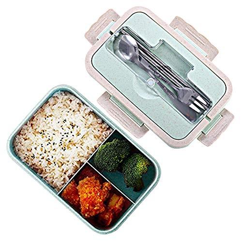Boîtes Bento, Bento Box Lunch Box, blé naturel 1000 ml de sécurité LeakProof Boîte de conservation avec fourchette baguettes cuillère pour enfants adultes, au micro-ondes, passe au lave-vaisselle