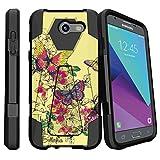 MINITURTLE Compatible with Samsung Galaxy J3 Emerge | J3 Eclipse | Galaxy Luna Pro [Case with Locking Kickstand] - Yellow Butterflies