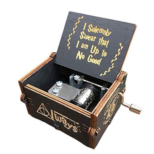 Jeerbly - Carillon con manovella in legno intagliato, stile vintage, 18 note, con incisione classica, idea regalo per compleanno, Natale, San Valentino