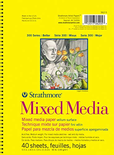 Strathmore (362-5) 300 Side Spiral Binding Acid-Free Medium-Weight Mixed Media Pad, 5.5'x8.5', 40 Sheets