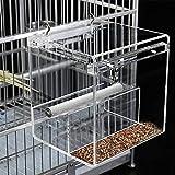 Comedero para pájaros de ventana, alimentador automático para jaula de pájaros con barra de aterrizaje para loro y pájaros pequeños, 1 paquete
