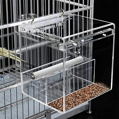 Alimentador automático de pájaros para loros, sin ensuciar semillas de pájaros, alimentador para pájaros con barra de aterrizaje para pájaros pequeños Budgerigar canary Cockatiel (gancho incluido)