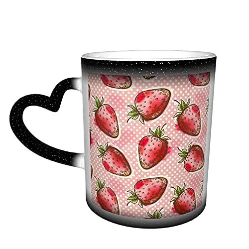 maichengxuan Taza de café unisex de viaje de fruta fresca fresa personalizada sensible al calor color cambiante taza taza de té de leche tazas de café mágicas