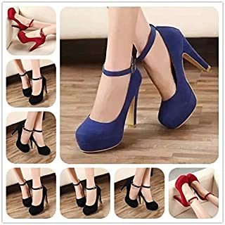 Women High Heel Shoe Spring Women Comfortable Shoes Pumps Nightclubshoe Women High Heels high-Heeled Black Round Heeled Shoes(38,Blue)