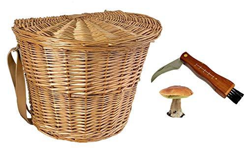 Coltello funghi + Gerla Cesto Vimini Tracolla per Raccolta Funghi Cinghia Pelle Cuoio Legna Picnic cm.40x29 h33cm
