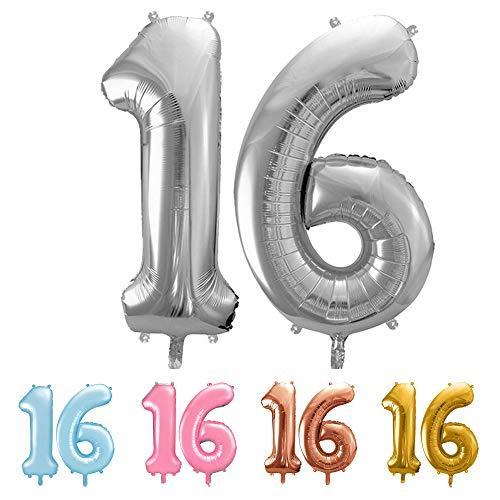 balloonfantasy Partyboutique Balloon Fantasy Zahlen Luftballon Set XXL | Geburtstagsdeko (Silber, 16)