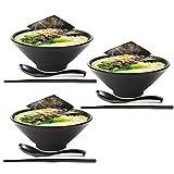 LXZSP 3 Juegos de Cuenco de Sopa de Fideos Ramen japonés de 57 onzas, vajilla de plástico Duro de melamina con Cuchara y Palillos a Juego para Fideos asiáticos Udon Soba Pho, Negro