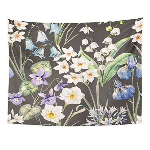 SPXUBZ Wall Tapestry Watercolor Floral Spring Pattern Violet Flowers Narcissus Lily The Valley Wall Hanging Decoration Soft Fabric Tapestry Perfect Print for House Rooms