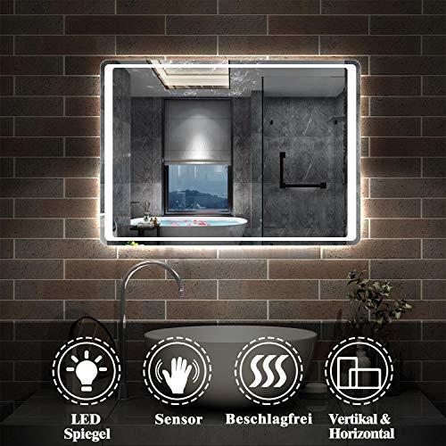 AicaSanitär LED Badspiegel 80×60cm Badspiegel mit Beleuchtung Lichtspiegel Badezimmerspiegel Wandspiegel Infrarot-Sensor-Schalter Antibeschlag IP44 Kaltweiß energiesparend