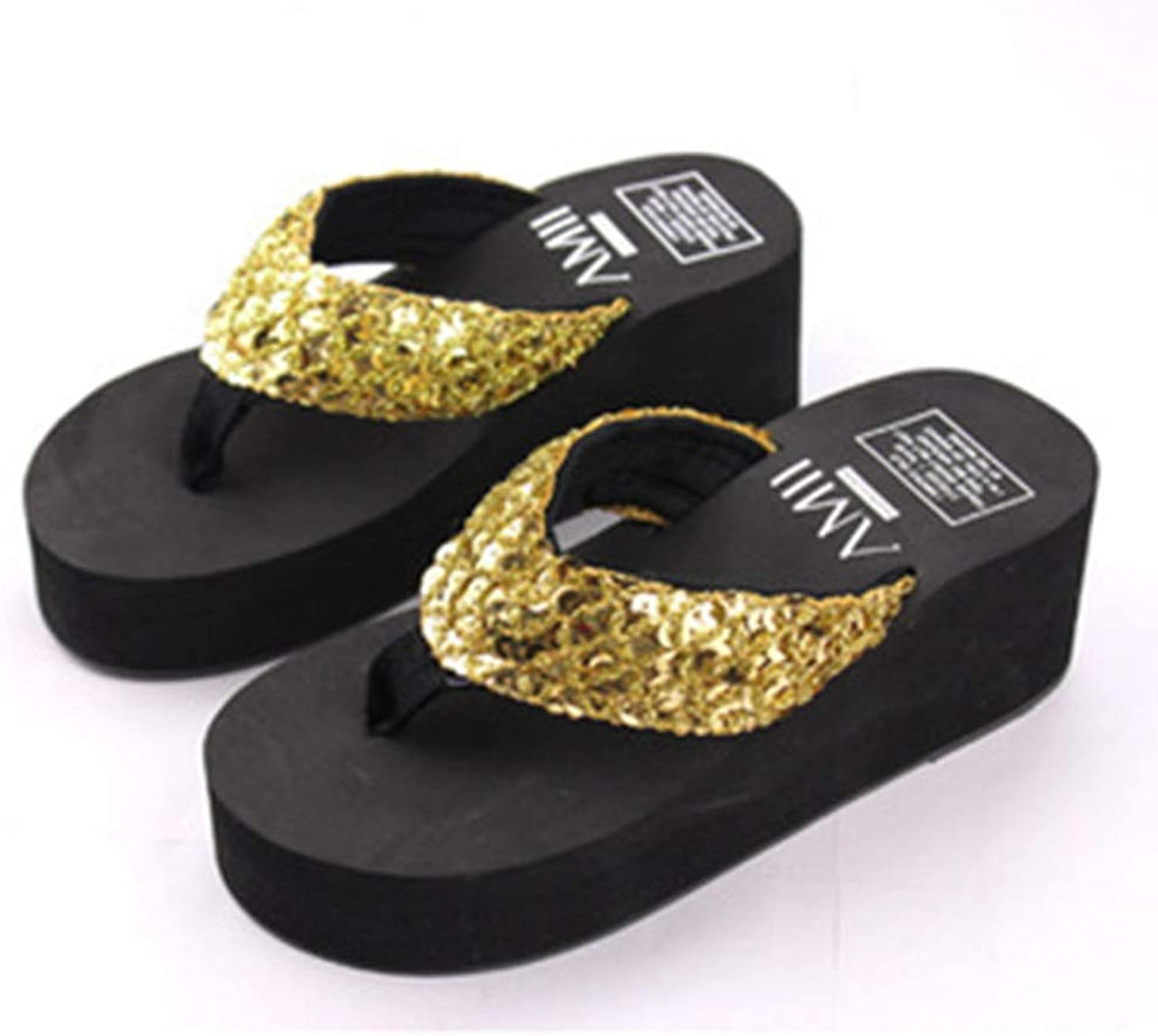 T-JULY Summer Women Platform Wedge Flip Flops Sandals Fashion High Heel silverforma Slippers Sandals