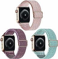 Fengyiyuda 3 Pack Solo Loop Kompatibel mit Apple Watch Armband,Nylon Ersatz Sport Armband für IWatch Series 6/SE/5/4/3/2/1