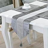 TINWARM Juego de 5 caminos de mesa clásicos de ladrillo brillante con borlas + 4 manteles individuales para decoración de bodas y fiestas navideñas (terciopelo gris)