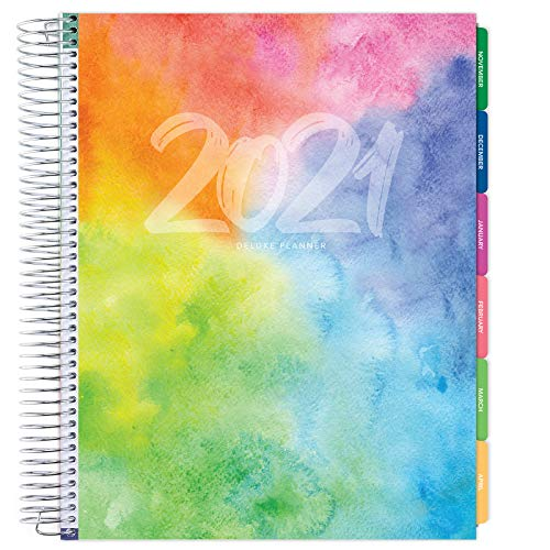 Deluxe 2021 Planner: 14 Months (Nov 2020 Through Dec 2021) 8.5'x11' Includes Page Tabs, Bookmark, Planning Stickers, Pocket Folder Daily Weekly Monthly Planner Yearly Agenda (Rainbow Watercolors)
