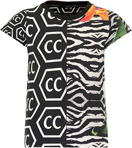 Carlo Colucci Mädchen Allover T-Shirt, Schwarz Schwarz 170/176
