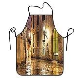 Barrio de piedra gótica de Barcelona España Renacimiento Patrimonio Noche Foto de la calle Delantal de barbacoa divertido Delantal de cocina Cocina creativa Parrilla Hornear Delantal de jardinería Del