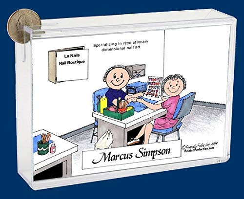 Personalized Friendly Folks Cartoon Caricature Bank: Manicurist, Nail Salon – Male