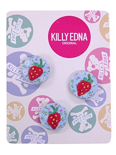 KILLYEDNA(キリィエドナ) 刺繍くるみボタン キリーズマーブル 3個セット20mm ピンクのイチゴ
