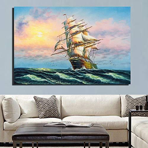 ganlanshu Rahmenlose MalereiSeascape Leinwand klassisches Boot Sonnenuntergang Seascape Poster und Drucke für Hauptdekoration30X54cm