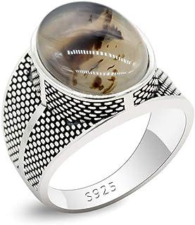 Qida خواتم العقيق العتيق للرجال - خاتم عقيق طبيعي صلب 925 خاتم زفاف مجوهرات رائعة مقاس 8-12