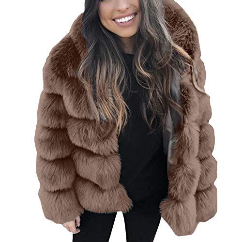 iHENGH Damen Herbst Winter Bequem Mantel Lässig Mode Jacke Frauen Faux nerz Winter mit Kapuze Neue kunstpelz Jacke warme Dicke...