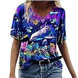 Photo de YUYOUG Hauts pour Dames - Mode Casual en Vrac à Manches Courtes T-Shirt Dauphin Violet Impression Col en V Taille Plus Chemisiers