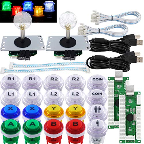SJJX Arcade 2 Player Game Controller Stick DIY Kit LED Buttons with Logo MX Microswitch 8 Way Joystick USB Encoder Cable forPC MAME Raspberry Pi Color Mix
