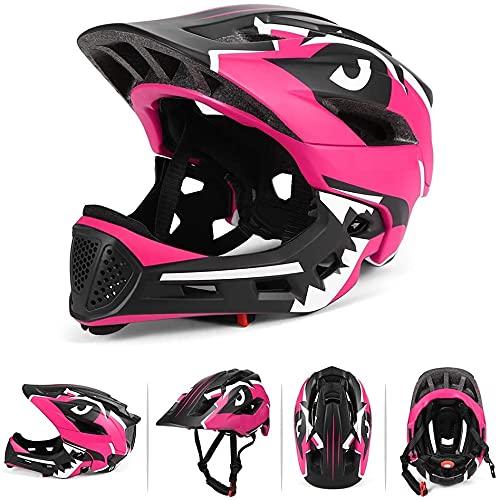 BMX Casque intégral pour enfant pour cyclisme enduro Entièrement réglable avec mentoner amovible. Taille réglable entre 48-58 cm (rose, 52-56 cm).