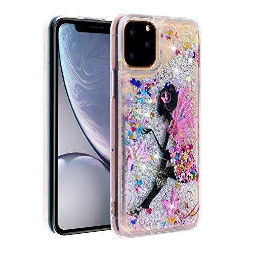Miagon Flüssig Hülle für iPhone 12 Pro,Glitzer Weich Treibsand Handyhülle Glitter Quicksand Silikon TPU Bumper Schutzhülle Case Cover-Schmetterling Mädchen