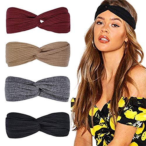 DRESHOW Stirnbänder für Frauen Geknotete Boho Stretchy Haarbänder für Mädchen Criss Cross Turban Plain Headwrap Yoga Workout Vintage Haarschmuck 4er Pack