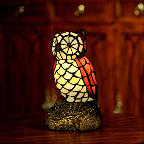 DESHOME Kreative Tiffany Nachttischlampe, Vintage Eule Tischlampen Dekoration warmes Nachtlicht, für Schlafzimmer, Wohnzimmer und Couchtisch,Plug(UK)