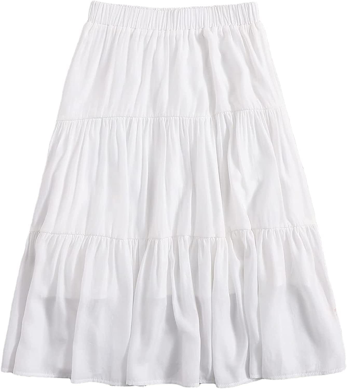 SheIn Women's High Elastic Waist Ruffle Hem Solid A Line Midi Skirt