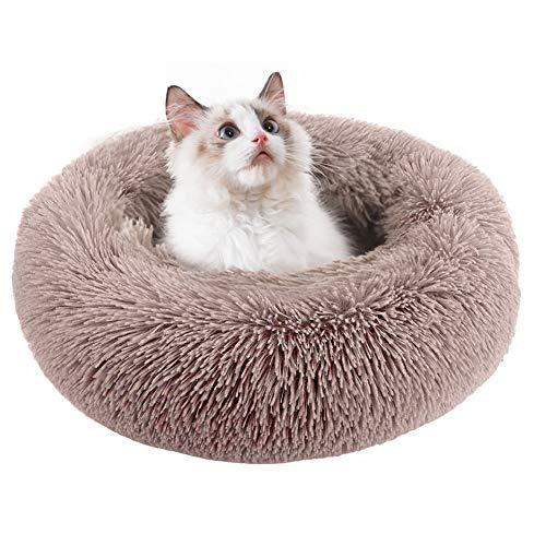 BangShou Redondo Camas para Gatos Felpa Camas Gatos Cama para Gatos y Perros Pequeños y Medianos (50cm, Marrón Claro)