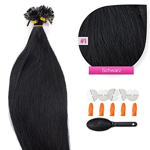50 x 0,5g glatte indische Remy 100% Echthaar-Strähnen/U-tip/Extensions/Haarverlängerung mit Keratinbondings 45 cm #01 schwarz - black