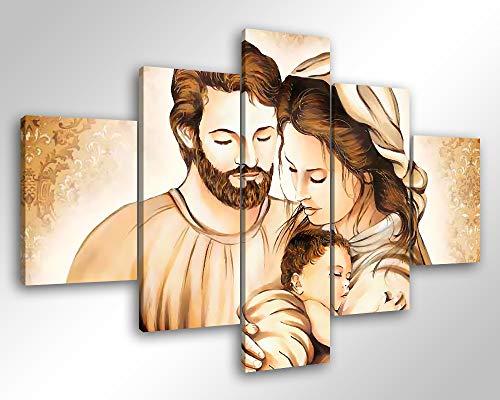 Degona Quadro Moderno Sacra Famiglia - 5 pz. cm 100x70 Capezzale Stampa su Tela Canvas Arredamento Arte Arredo XXL