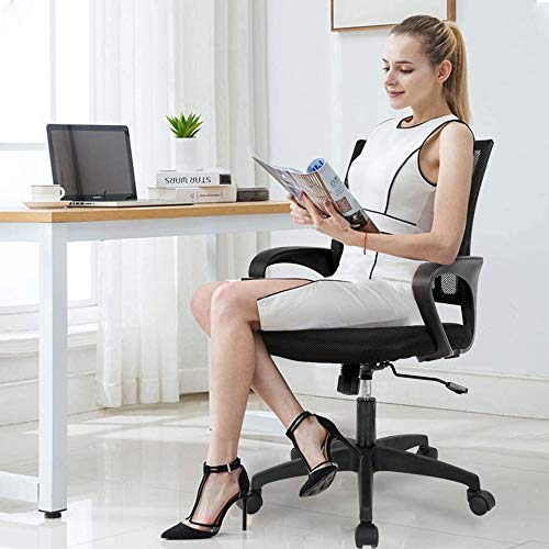 DJLOOKK Silla de Escritorio de Oficina portátil, Silla ergonómica de Malla para computadora, Altura Ajustable y Soporte Lumbar, sillas ejecutivas y sillas gerenciales, Silla giratoria para Juegos