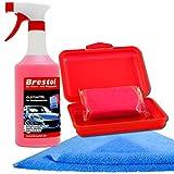 Brestol Reinigungsknete Set4 200 g Knete rot abrasiv + Box + 750 ml Spezial GLEITMITTEL + Poliertuch - Polierknete Lackknete Clay-Bar Auto-Lack-Knete - entfernt Baumharz Insekten u.v.m.