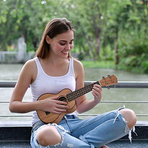 CASCHA HH 2036 DE Premium Mahagoni Konzert Ukulele Bundle mit Ukulelenschule, Stimmgerät, gepolsterter Tasche, 3 Picks und Aquila Qualitäts-Saiten - 11
