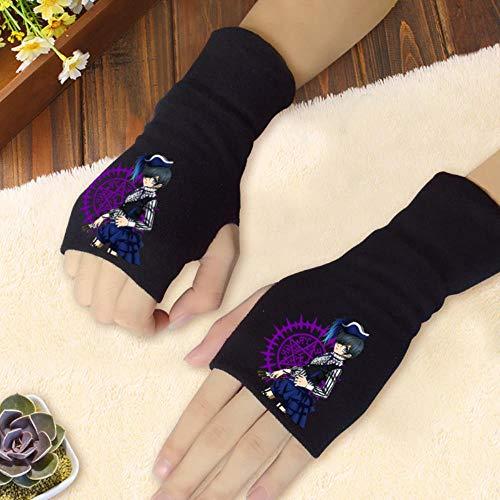 Spricen Fingerless Exercise Grip Gloves Anime Fingerlose Handschuhe Blended Cotton Dew bezieht Sich auf die Herbst- und Winterfarben des Daumens Black ButlerA