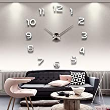 Large Diy Quartz 3d Wall Clock Acrylic Sticker Wall Clock - Silver