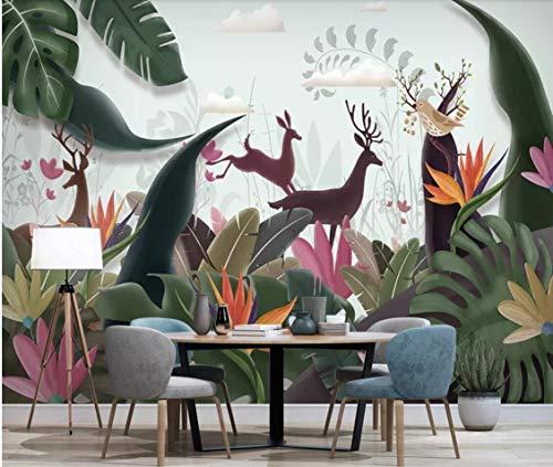 BZDHWWH Mural de Pared de Hoja de plátano Tropical nórdico, Papel Tapiz fotográfico Pintado a Mano, Lienzo, Rollos de Papel Floral de Ciervo Impermeable